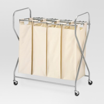 Rolling Quadruple Laundry Sorter - Natural Linen - Threshold™