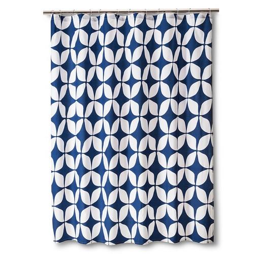 Varick Modern Geo Shower Curtain - Indigo (Blue)