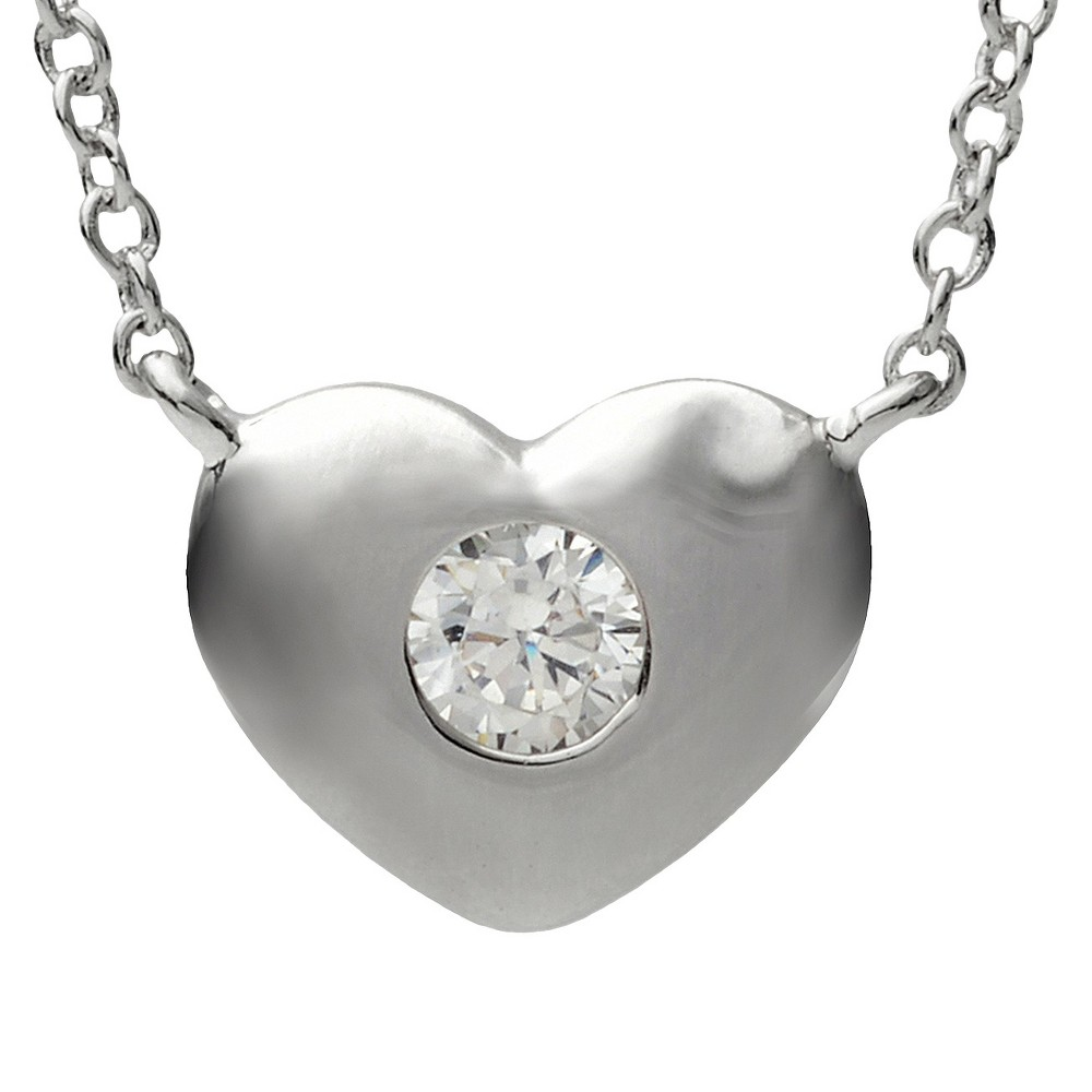 1/2 CT. T.W. Journee Collection Round Cut CZ Heart Necklace in Sterling Silver - Silver, Womens