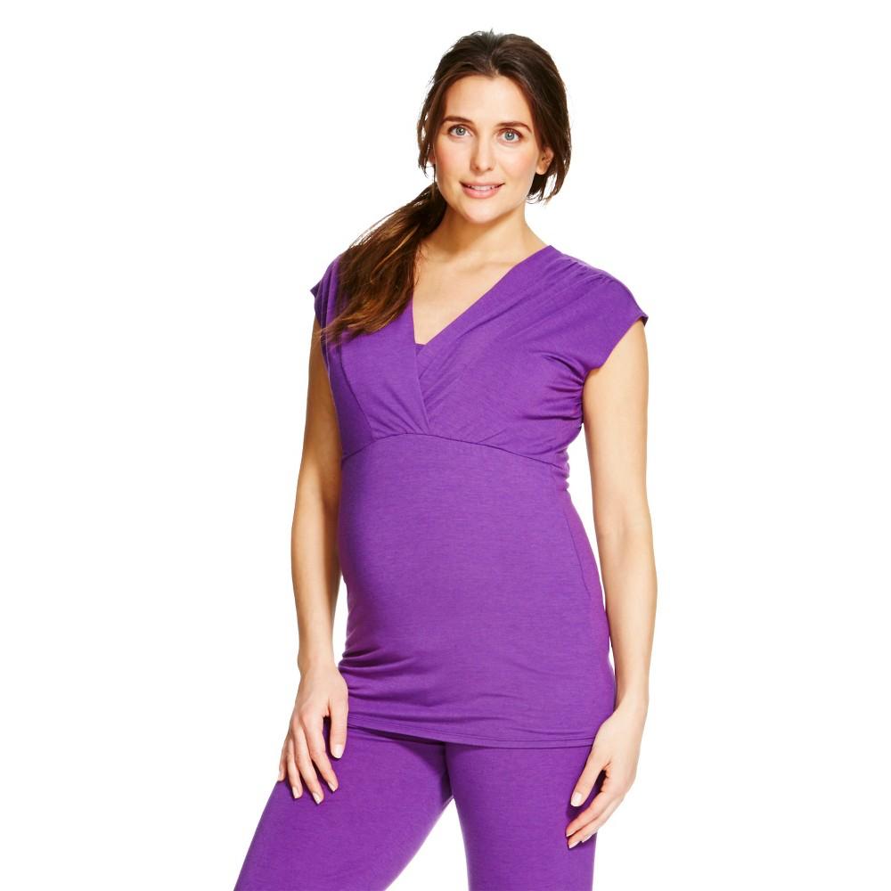 Eve Alexander Women's Maternity Cap Sleeve Empire Top S Purple