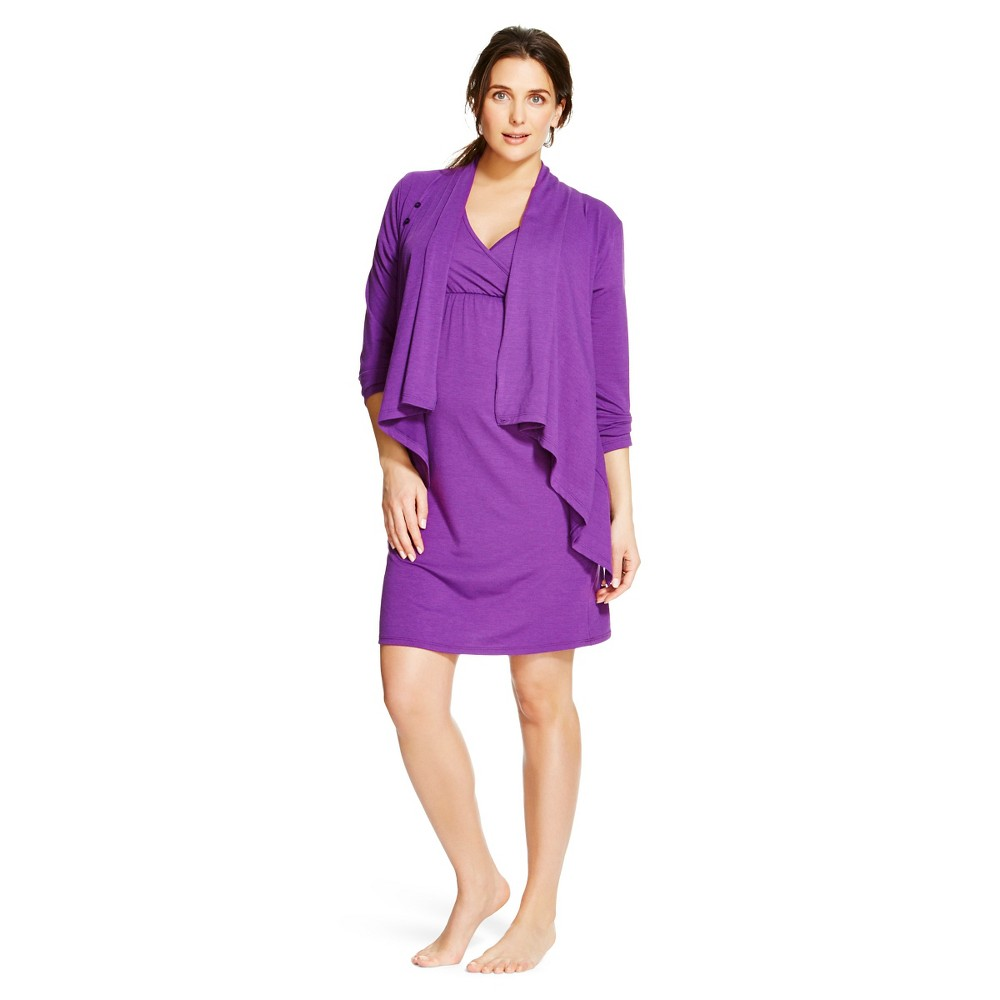 Eve Alexander Womens Nursing 2 Piece Set M Purple
