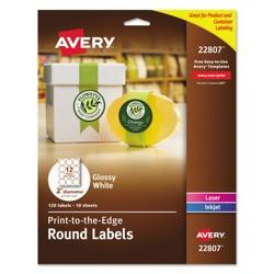 "Avery® Round True Print Labels 2"" White 120ct"