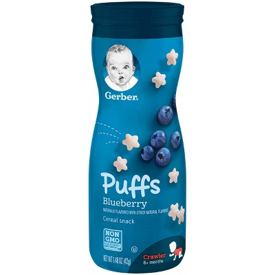 Gerber Puffs Cereal Snack, Blueberry 1.48oz (3 Pack)