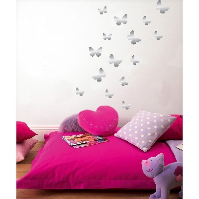 Fun4Walls Butterfly Foil Wall Stickers Set Of 2   Gray