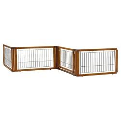 Richell Convertible Elite 4-Panel Dog Gate - Autumn Matte Brown