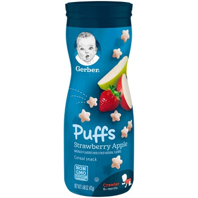 Gerber Puffs Cereal Snack, Strawberry Apple - 1.48oz (3 Pack)