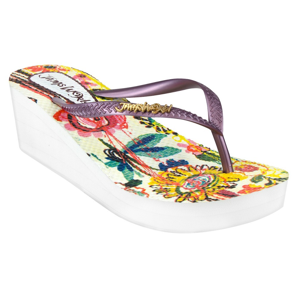 Womens Jams World Wedge Flip Flop Sandals - Purple 6