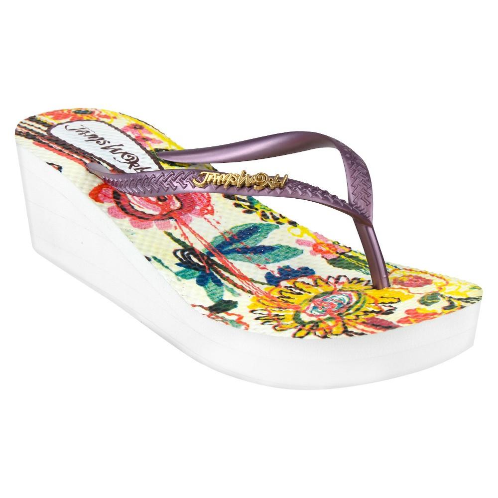 Womens Jams World Wedge Flip Flop Sandals - Purple 8