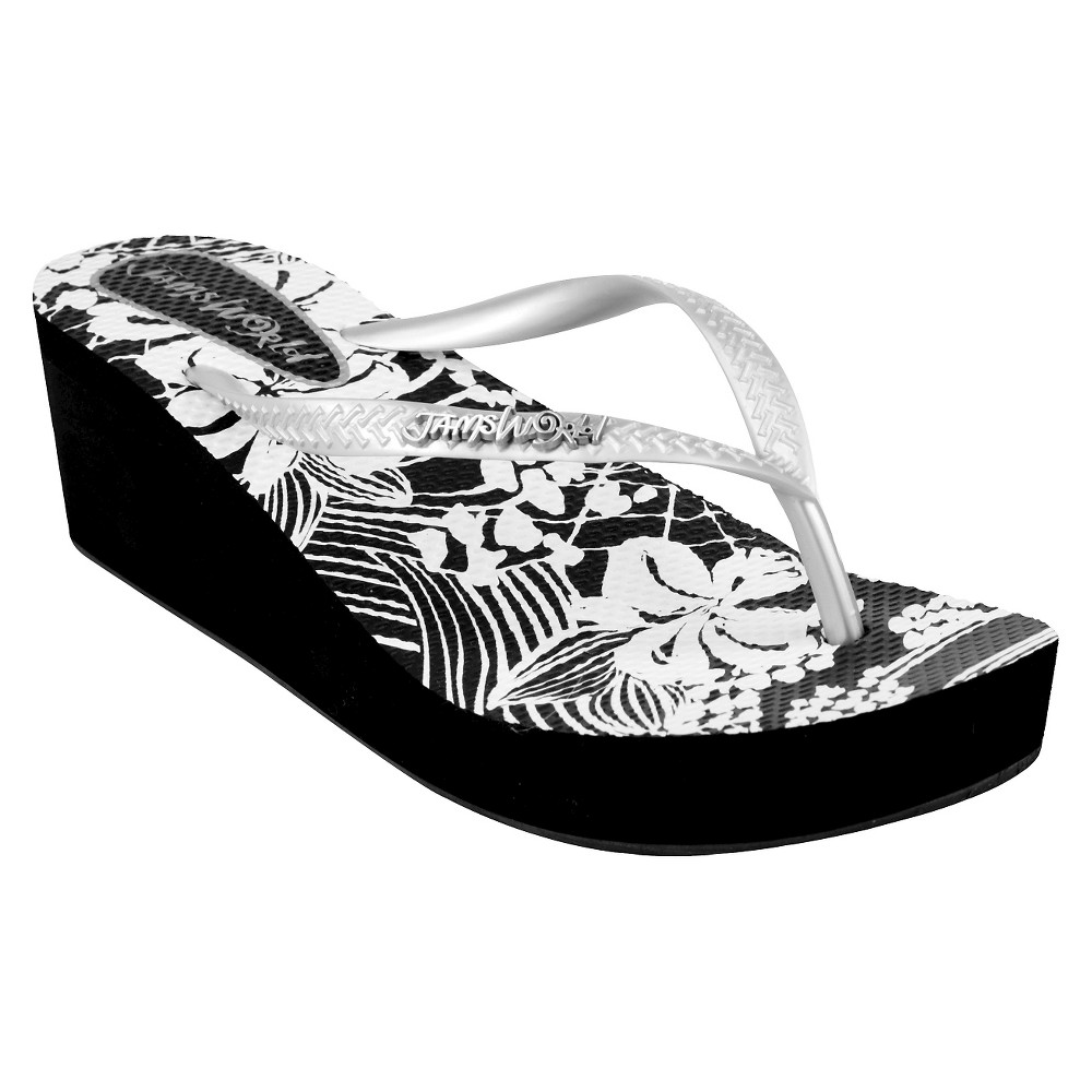 Womens Jams World Wedge Flip Flop Sandals - Silver 6