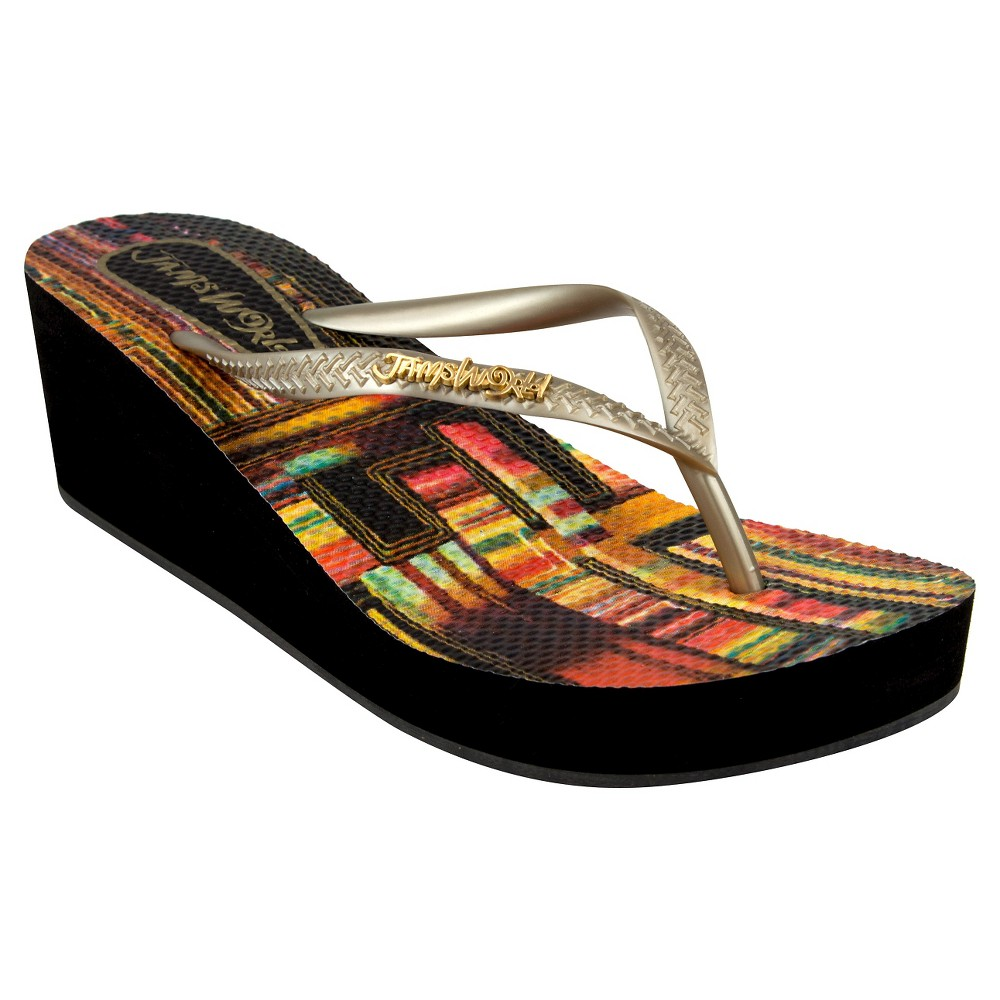 Womens Jams World Wedge Flip Flop Sandals - 6, Zinna Gld