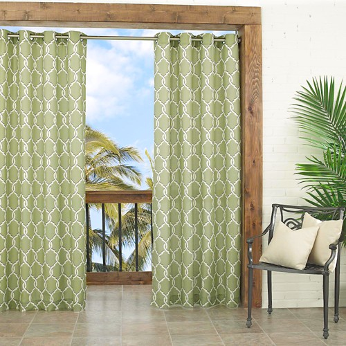 'Parasol Totten Key Trellis Indoor/Outdoor Curtain Panel - Lime (Green) (52''x95'')'