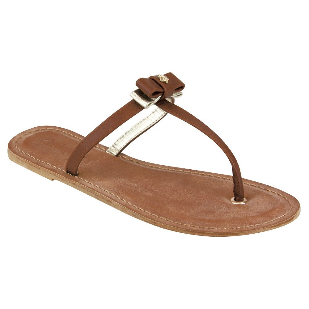 Womens Jams World Lala Bow Sandals - Camel/Gold 7, Brown