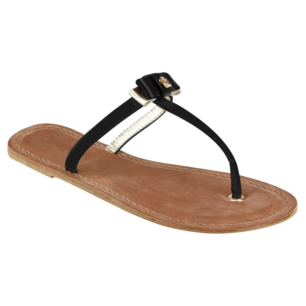 Womens Jams World Lala Bow Sandals - Black/Gold 8