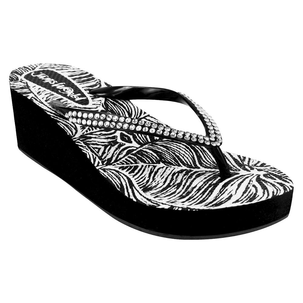 Womens Jams World Wedge Flip Flop Sandals - Black 8