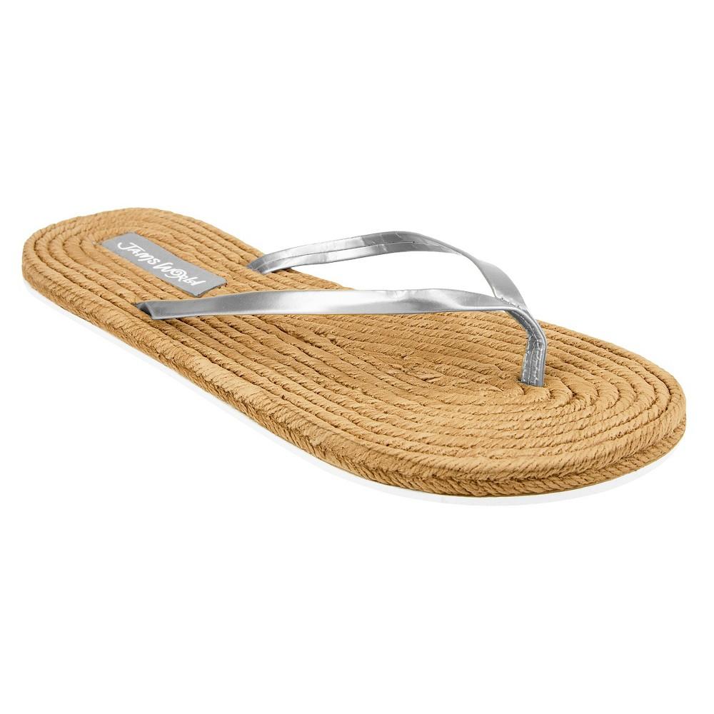 Womens Jams World Flip Flop Sandals - Silver 7