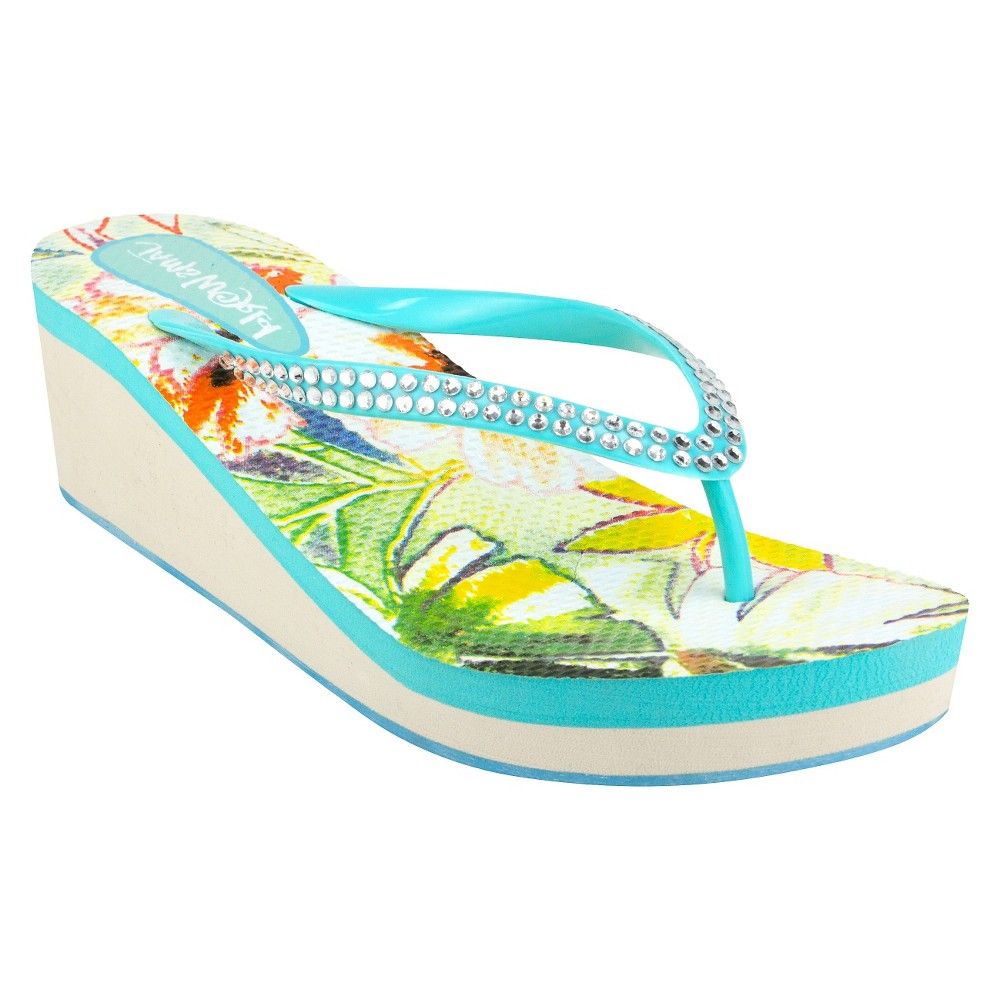 Womens Jams World Wedge Flip Flop Sandals - Aqua (Blue) 8