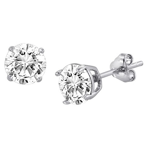 Women's Round Stud Earrings with Crystals from Swarovski in Sterling Silver (6mm) - image 1 of 1