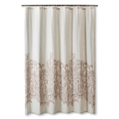 Kareem Embroidered Paisley Shower Curtain Toffee/Beachcomber - Threshold™