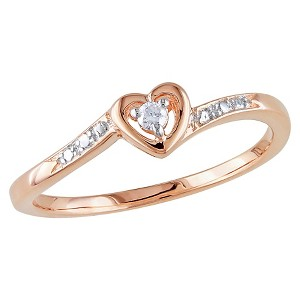 Allura 0.03 CT. T.W. Diamond Heart Ring in Pink Rhodium Plated Sterling Silver (GH) (I2:I3) (8), Women