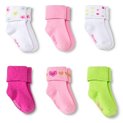 Hanes® Baby Girls' 6-Pack Bobby Socks - Multicolored 6-12 M