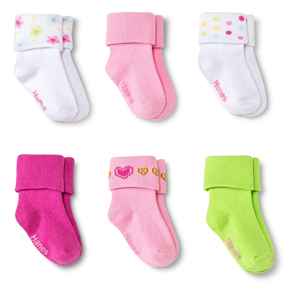 Hanes Baby Girls 6-Pack Bobby Socks - Multicolored 6-12 M, Size: 6-12 Months