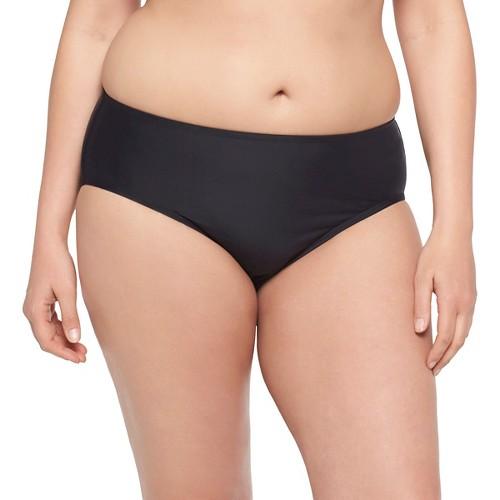 Women's Plus Size Hipster Swim Bottom Black 20W - VM