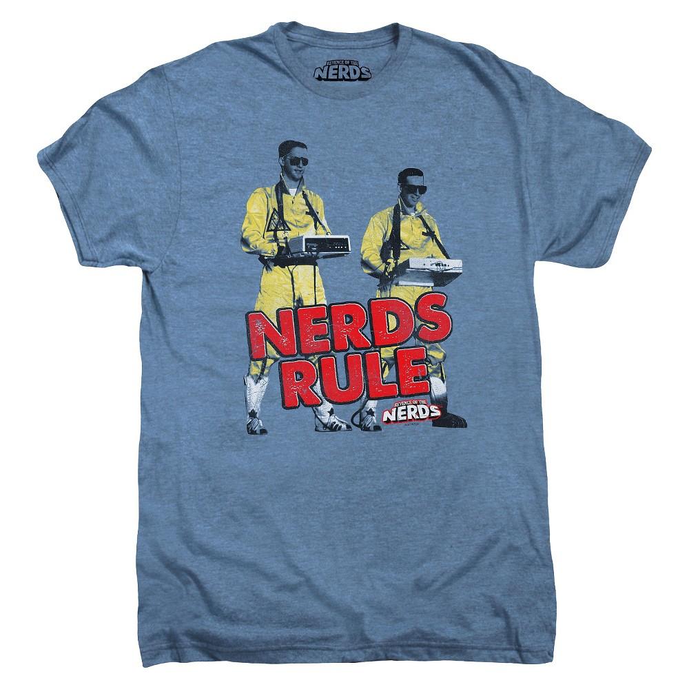 Mens Nerds Rule T-Shirt Blue XL