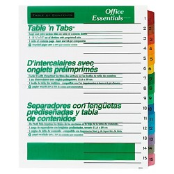 Office Essentials Table Legal N Tabs Dividers - 15 Multicolor Tabs - 1 - 15 - Letter