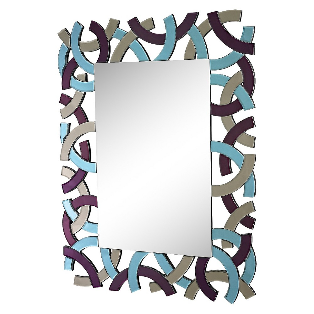 Rectangle Colored Glass Frame Decorative Wall Mirror Purple/Smoke/Blue (Purple/Grey/Blue) - Lazy Susan