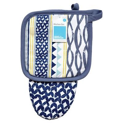 Blue Patterned Oven Mitt Pot Holder - Room Essentials™