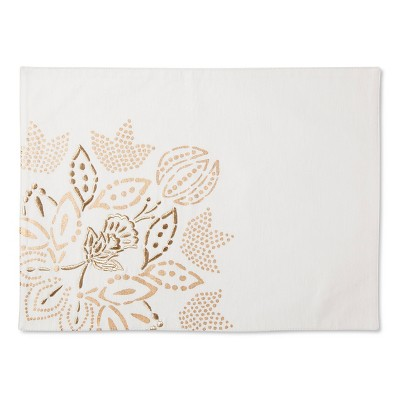 Floral Placemat White with Gold - Threshold™