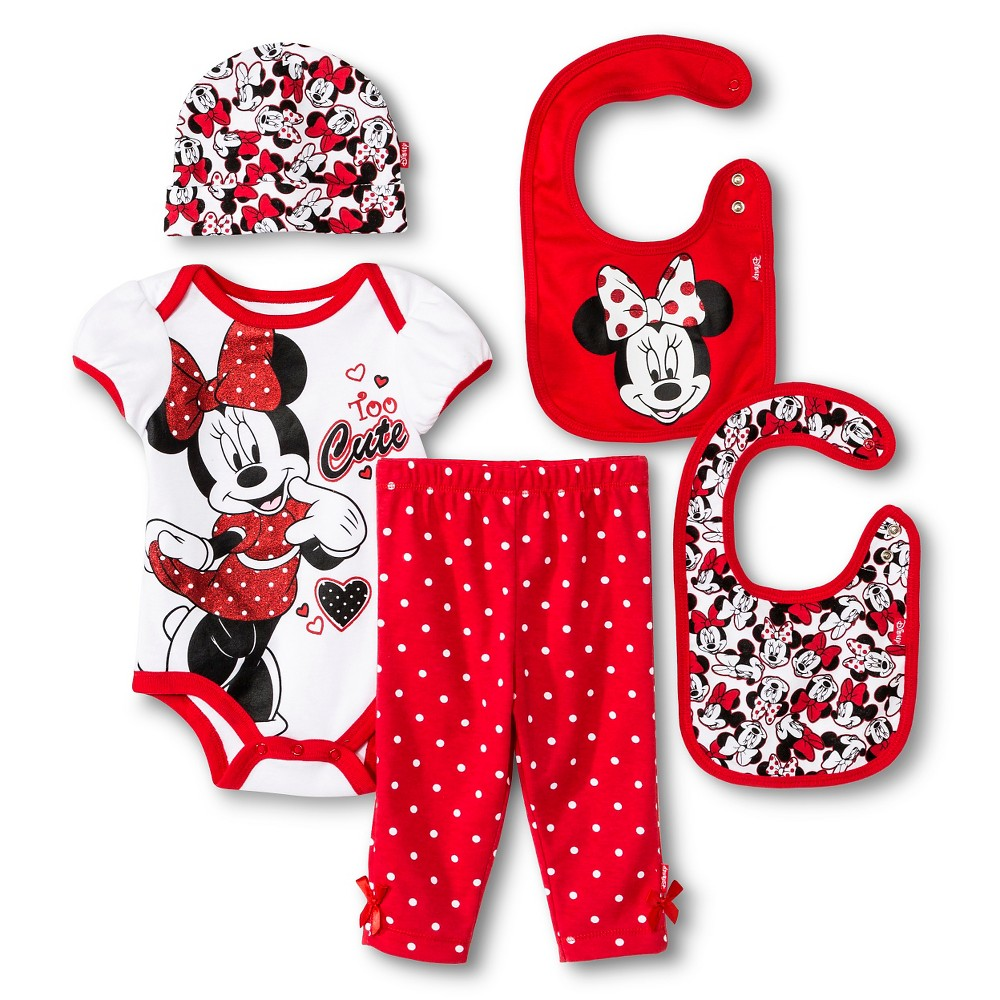 Disney Girls' Top and Bottom Set Red and White 0-6M, Size: 0-6 M