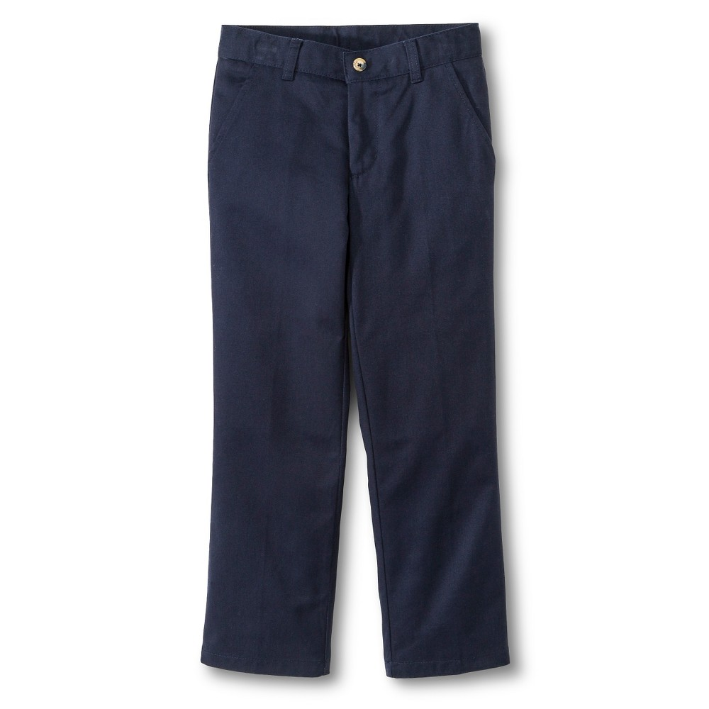 French Toast Boys Adjustable Waist Double Knee Flat Front Pants - Navy (Blue) 16