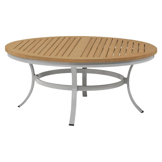 "travira 48"" metal/faux wood patio round coffee table : target"
