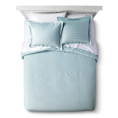 Blue Haze 500 Thread Count Andiamo Egyptian Stripe Duvet Cover Set Full/Queen 3pc - Elite Home Products
