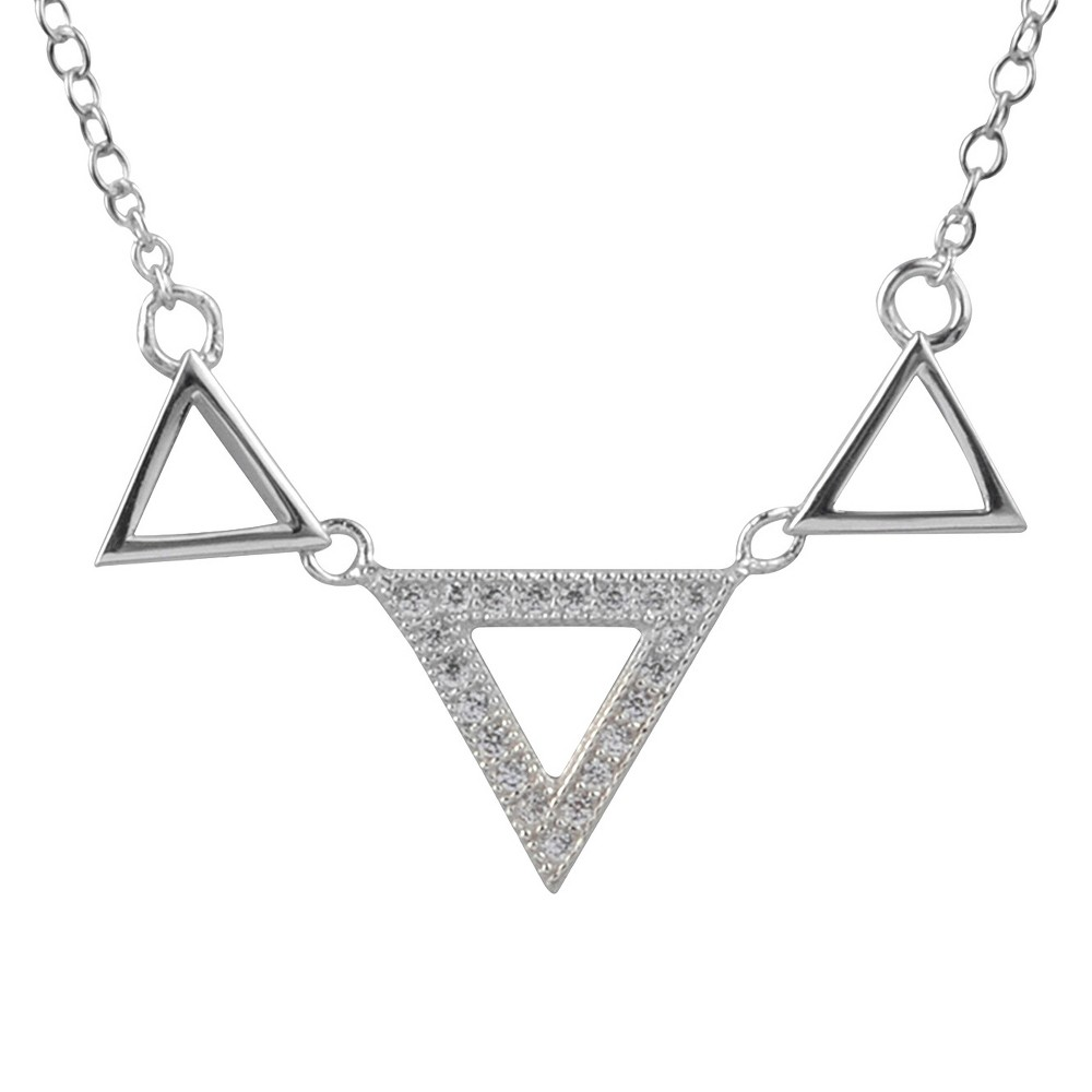 1/5 CT. T.W. Journee Collection Round Cut CZ Pave Set Triangle Necklace in Sterling Silver - Silver, Womens