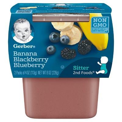 Gerber 2nd Foods Banana Blackberry Blueberry Baby Food - 4oz (2ct)