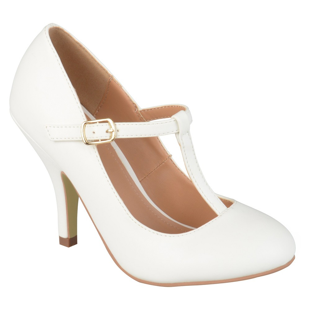 Womens Journee Collection Liza T-Strap Pumps - White 7.5
