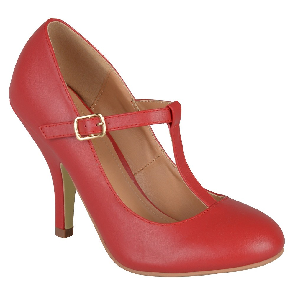 Womens Journee Collection Liza T-Strap Pumps - Red 8.5