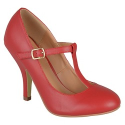 Women's Journee Collection Liza T-Strap Pumps - Red 8.5