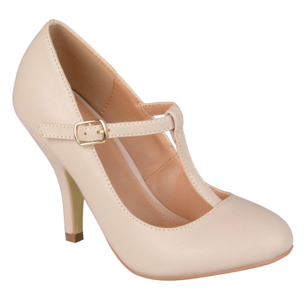 Womens Journee Collection Liza T-Strap Pumps - Nude 10