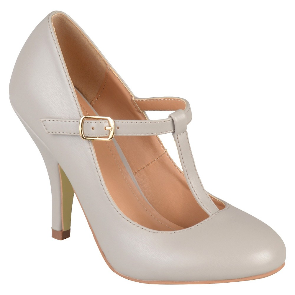 Womens Journee Collection Liza T-Strap Pumps - Gray 8.5