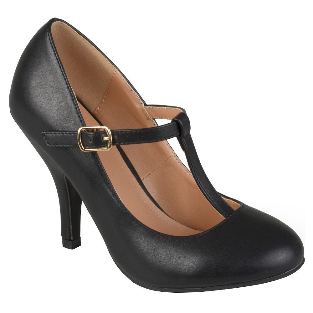 Womens Journee Collection Liza T-Strap Pumps - Black 9