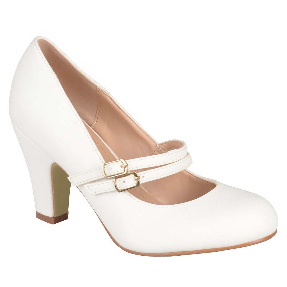 Womens Journee Collection Windy Double Strap Pumps - White 8.5