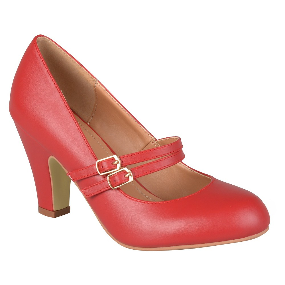 Womens Journee Collection Windy Double Strap Pumps - Red 7.5