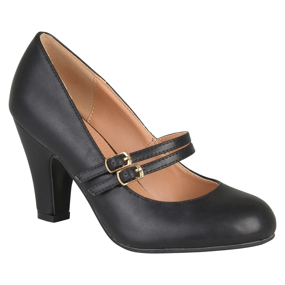 Women's Journee Collection Windy Double Strap Pumps - Black 7.5