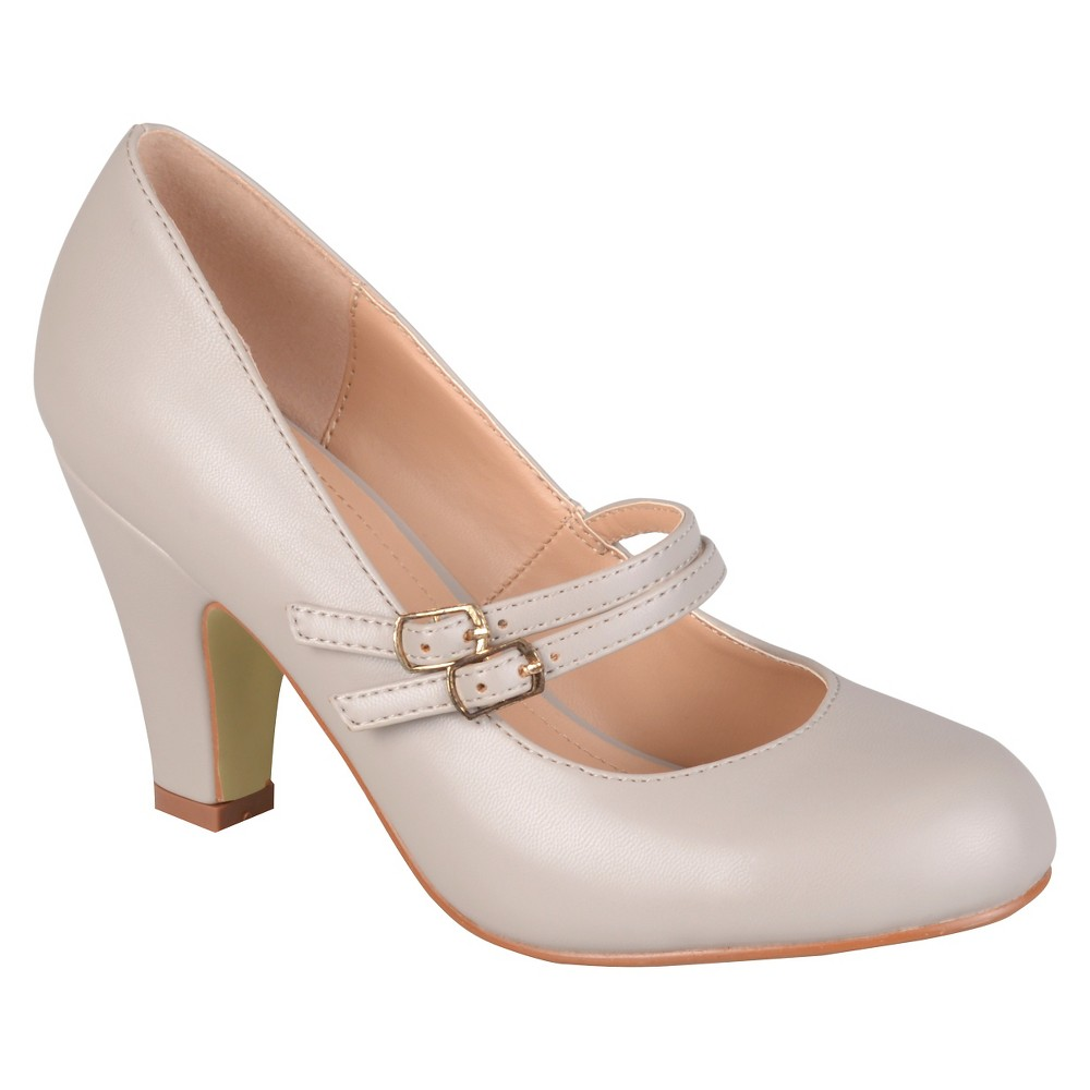 Womens Journee Collection Windy Double Strap Pumps - Gray 7.5