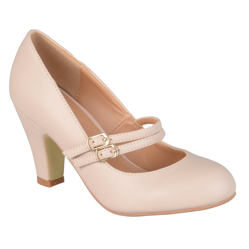 Womens Journee Collection Windy Double Strap Pumps - Nude 7.5