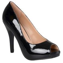 Women's Journee Collection Lois Peep Toe Pumps - Black 10