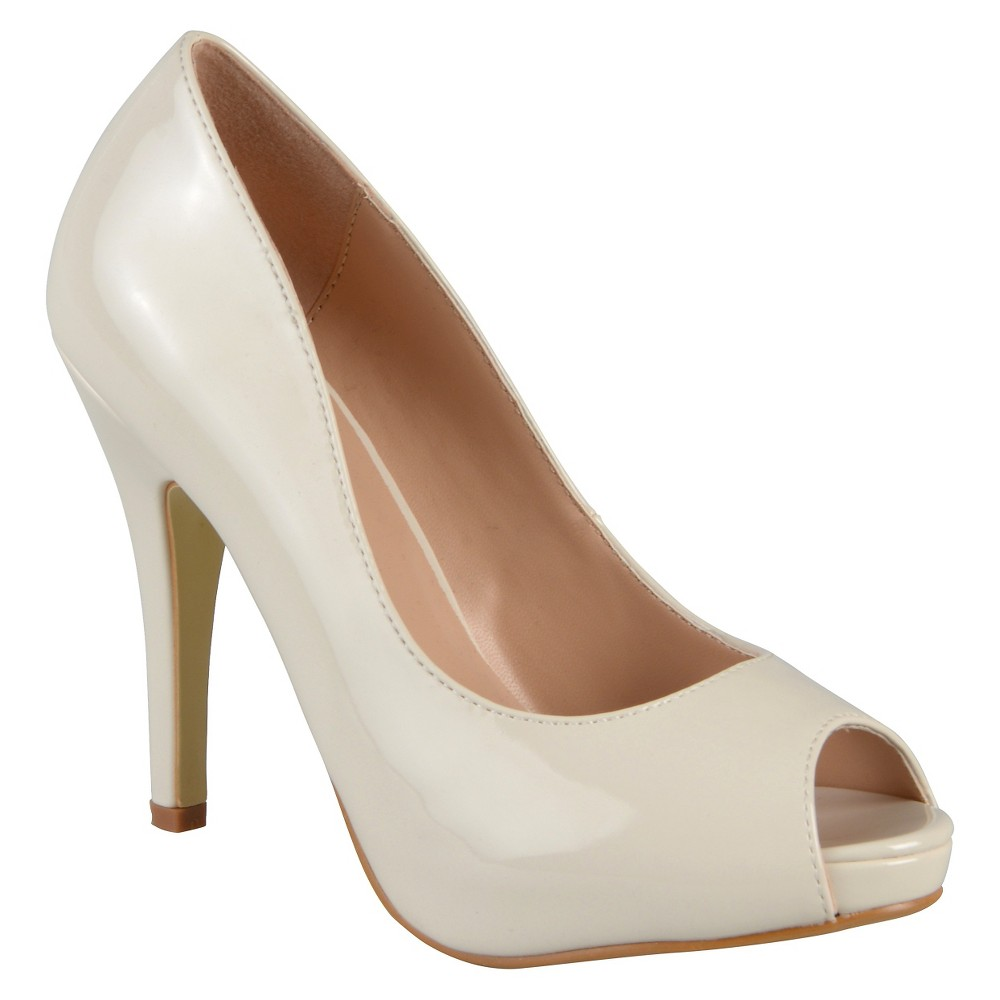 Womens Journee Collection Lois Peep Toe Pumps - Ivory 7.5